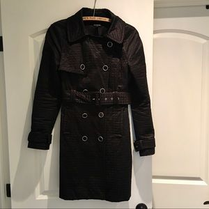 Bebe Black Belted Trench Coat Sheen Quilted Buckle